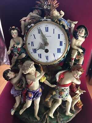 Rare Large Original Antique Hard Paste Meissen Porcelain Mantle Clock