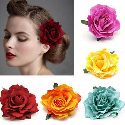 Women Girls Rose Flower Hair Clip Solid Corsage Head Wear Head Accessory Corsage