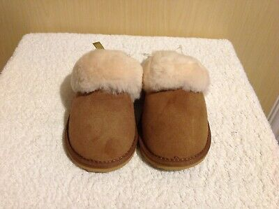 Pair of girls beig comfortable sheepskin leather slippers size 12/30.5 from next