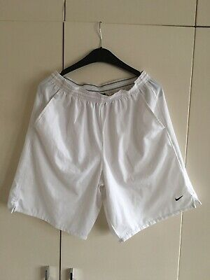NIKE TENNIS VINTAGE Dri Fit White Shorts Size Large EUR 3