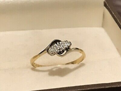Art Deco Antique 18ct & Platinum 3 Stone Diamond Ring Size S (2.2g) Not Scrap