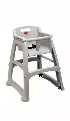 Rubbermaid Sturdy Chair Youth Seat with Microban Plastic with Casters, Platinum