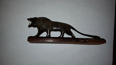 Vintage Hand Carved Lion Black Ebony Wood