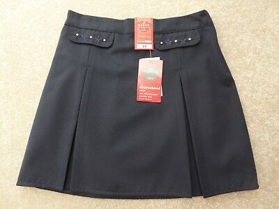 Marks & Spencer M&S Girl's Navy School Embroidered Skirt Size 9-10 Years BNWT