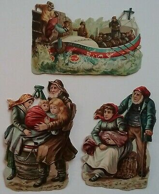 3 Antique Chromo Embos Victorian Scraps. RESCUE AT SEA. LIFEBOAT. All ap 11x7cms