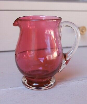 Vintage Cranberry Glass Small Milk Cream Jar Jug - Clear Base And Handle