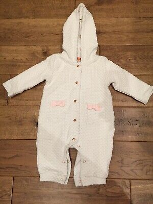 Ted Baker Designer Baby Girls White Quilted Pram suit New Condition, 0-3 Months