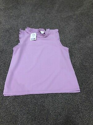 Next Girls Purple Frilled Vest Sleeveless Blouse. Age 9 Years. New With Tags