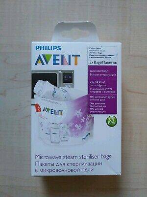 Avent Quick Sterilising Bags Pack Of 5 Brand New