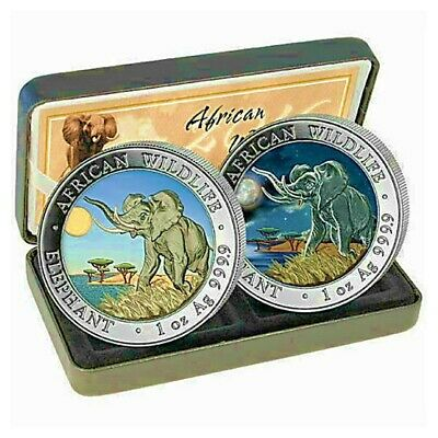 2016 Somalia Elephant Day Night Colored 0.999 Silver 2 Coin Set African Wildlife