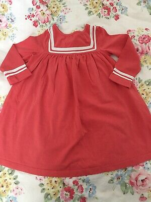 Girls Mini Boden Cotton Jersey Coral Sailor Dress Age 2 To 3