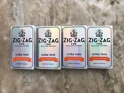 Zig-Zag Silver Ultra-Thin Slow Burning Rolling Papers - 4 Packs