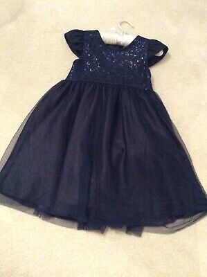 Girls 5-6yrs  Navy Blue Party/Bridesmaid Dress Sequin Bodice Marks & Spencer