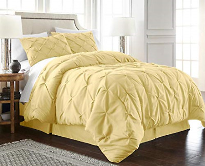 Chezmoi Collection Berlin 3-Piece Pintuck Pinch Pleat Bedding Comforter Set