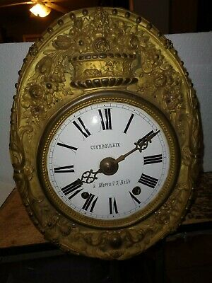 Antique-French-Morbier Clock Movement-Ca.1880-To Restore-#K326