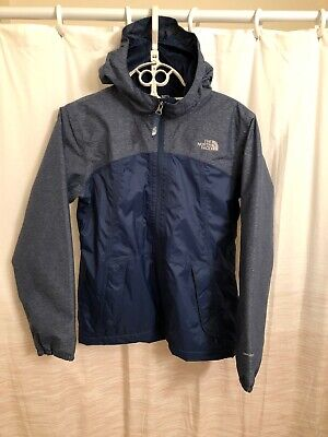 The North Face girls Blue  rain jacket lined w/ fleece XL (18) EXCELLENT Cond.