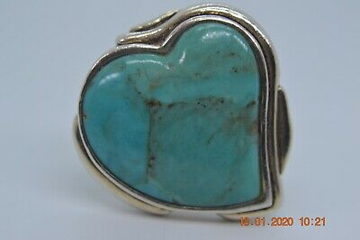 Vintage Women's Barse Sterling Silver Large Turquoise Heart Ring Size 8