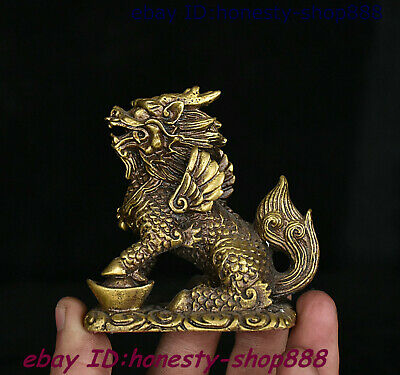 Chinese Copper Bronze Feng shui Animal Kylin Chi-lin Qilin Beast Yuan Bao Statue