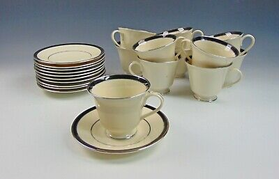 Lote de 11 Lenox China Negro Royal Taza y Platillo Juegos
