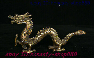 Old Chinese Bronze Fengshui 12 Zodiac Year Animal Dragon God Loong Beast Statue