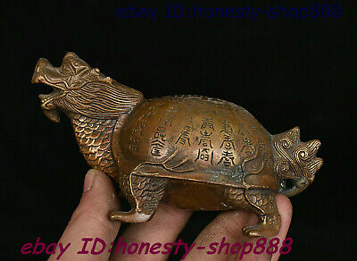 Chinese Bronze Fengshui Animal Dragon Tortoise Loong Turtle Ancient Works Statue