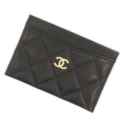 CHANEL Matelasse Caviar Leather Black CC Logo Card Case Card Holder A31510 Spain