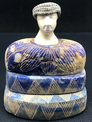 Ancient Bactrian King Lapis lazuli Stone Head Seated Statue