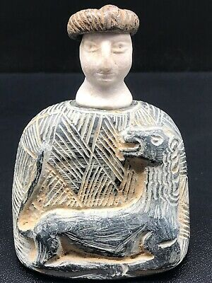 Ancient wonderful Excellent Carving Bactrian Idol Composite Stone Statue