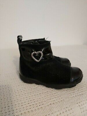 Clarks Girls Black Leather Boots, Infant Size 4.5f
