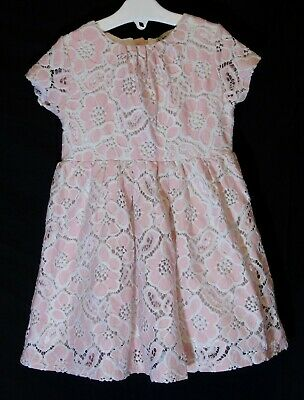 Girls Next Pink White Broderie Anglaise Lace Fully Lined Dress Age 2-3 Years