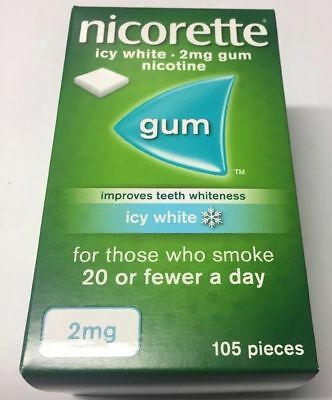 NICORETTE 2mg ICY WHITE Chewing Gum X 630 Pieces -  FREE INTERNATIONAL SHIPPING