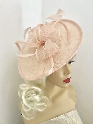 NEW Nude Blush Peach Fascinator Saucer Wedding Hat Formal Ladies Hatinator