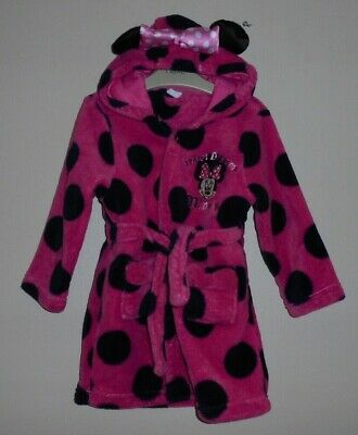 DISNEY Minnie Mouse GIRLS SOFT FLEECE DRESSING GOWN ROBE AGE 2-3 YEARS