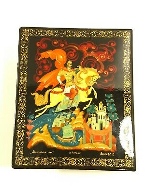 Beautiful Signed Russian Lacquered Box Man Riding Horse Folk Tale Castle Boats