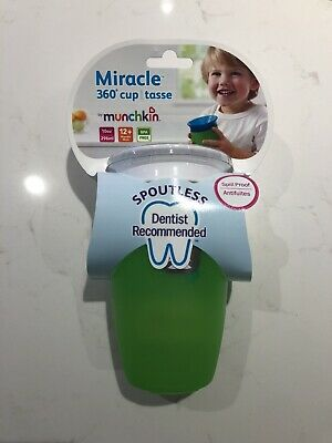 Munchkin Miracle 360 Degree Cup 296ml Green Cow Print BRAND NEW