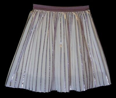 Girls Zara White Metallic Lilac Stripe Fully Lined Pleated Skirt Age 9 Years