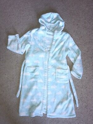 M&S Girls Dressing Gown Age 9 - 10 Years, Blue Green White Clouds
