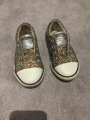 Next Size 6 Girls Trainers Glitter Sparkly Sequin Infant Toddler Casual Party