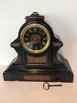 Large Antique Slate and Red Marble Striking Clock WITH KEY Leroy & Fils Paris