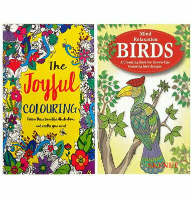 2 X ADULT COLOURING BOOK BOOKS SET Mindfulness Relaxing Anti-Stress 78 DESIGNS