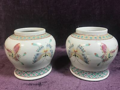 """Pair Antique Chinese famille rose butterfly porcelain jar 5.5"""" signed"""