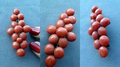 BBWX Art Deco antique real coral brooch Koralle Brosche Damen Schmuck antik RARE
