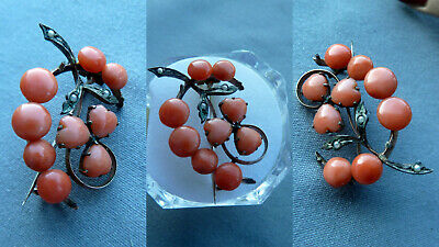 BBFG antique Art Deco real coral brooch Koralle Brosche Damen Schmuck antik RARE