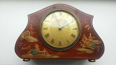 French Chinoiserie Antique Mantel Clock  Hand Painted