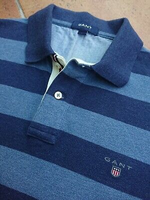 Gant Striped Blue Polo Shirt Medium Mens