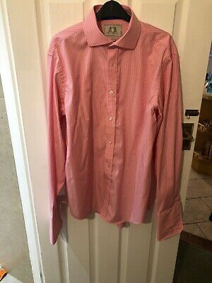 """Men's Next Tailored Fit Pink + White Striped  Long Sleeve Shirt Size 16"""""""