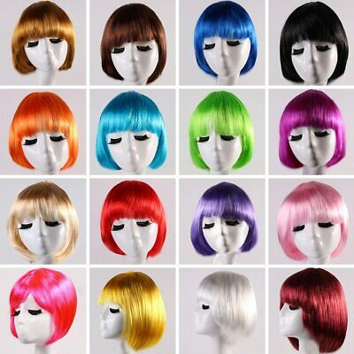 Straight Unisex Short Bob Wig Fancy Dress Cosplay Wigs Colored Synthetic F Top
