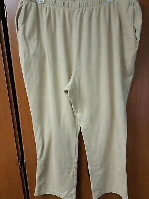 Ladies beige elastic Pull On Slacks Pants Land's End 2 XL