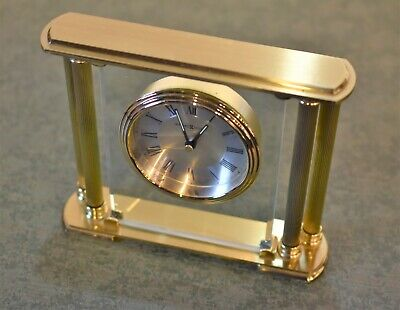 Howard Miller 35F 613627 Athens Mantle Shelf Clock Solid Brass Beveled Glass 3/4