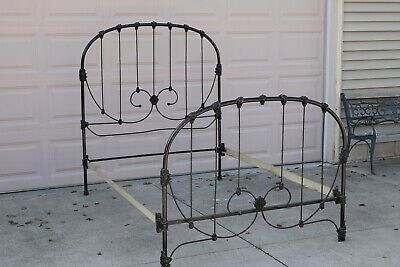 Antique Victorian Iron Full Bed, Rails Extended to Accommodate Queen Mattress
